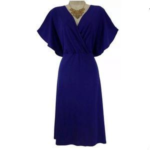 XL X-LARGE▪️RICH BLUE BUTTERFLY SLEEVE DRESS